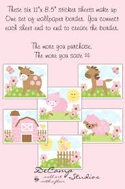 Wall Decals For Girl Nursery by Decamp Studios Pink Barnyard Farm Animals Wallpaper Border Wall