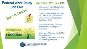 Work Study Resume Federal Work Study Job Fair Tidewater Community College