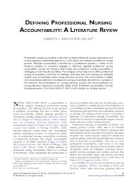 defining professional nursing accountability a literature review