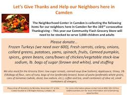 neighborhood center in camden looking for help for thanksgiving