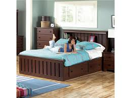 brown wooden queen size platform bed with drawers underneath