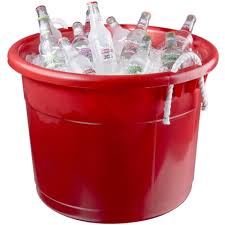 Patio Ice Bucket With Stand by Continental 8119rd Huskee 19 Gallon Red Tub With Handles