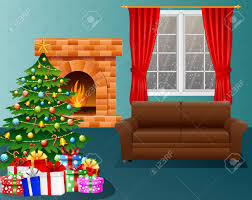Christmas Tree Images Clipart Vector Illustration Of Christmas Living Room With Fireplace