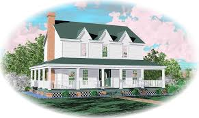 farmhouse home plan with wrap around porch 58277sv