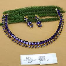 necklace set blue stone images Ink blue colour stones leaves design gold plated finish necklace jpg