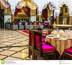 dining room in an ancient moroccan palace in rabat editorial image