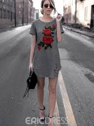 ericdress rose embroidery above knee short sleeve casual dress