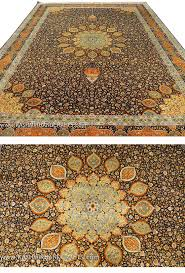 Gold Oriental Rug Ardabil Silk On Silk Oriental Rug Brown Handknotted 9ft X 12ft