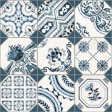 vintage fliesen weiß blau patchwork bodenfliese bad retiro 31 6x31