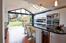 Open Plan Kitchen Ideas Open Plan Kitchen Looking Into A Garden Through Open Folding Doors