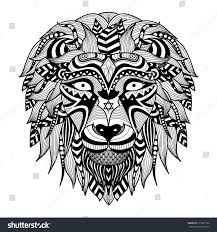 tattoo design lion ethnic patterned head lion on white stock vector 315221732