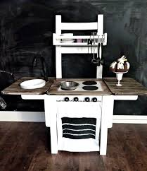 make you own play kitchen she used a wooden chair affixed two
