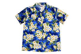 womens blue hawaiian shirt with plumeria