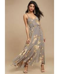 slash prices on lulus feeling freesia grey floral print maxi dress