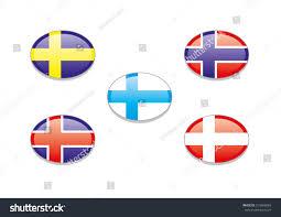 Scandanavian Flags Scandinavian Flags National Flags Denmark Sweden Stock Vector