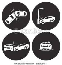 crashed cars vector car eccident icons set white on a black
