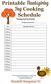 free printable thanksgiving day schedule cooking countdown