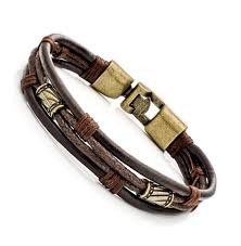 adjustable braided leather bracelet images Stainless steel black wrap braided leather bracelet adjustable for JPG