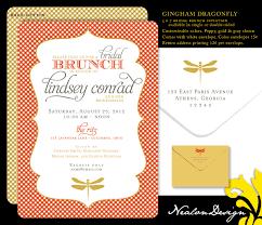 birthday brunch invitation nealon design gingham dragonfly bridal brunch