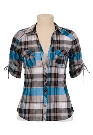 Black And White Plaid Shirt Womens Cinched Sleevebutton Front Plaid Shirt Available At Maurices