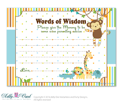 baby shower advice cards king lion boy jungle words of wisdom advice card for baby shower