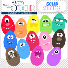fun silly eggs in bright solid colors clip art set