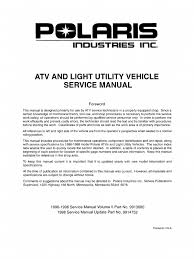 polaris atv service manual 1996 1998 all models suspension