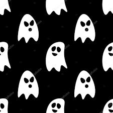 flat design cartoon halloween ghosts seamless pattern background