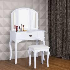 Miroir Pivotant Salle De Bain by Homcom Coiffeuse Table De Maquillage Commode De Coiffer Avec
