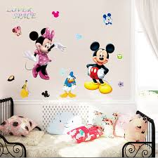 Mickey Home Decor Mickey Mouse Minnie 3d Wall Sticker Vinyl Mural Decals