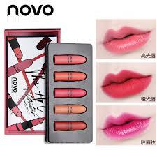sexy color 5pcs novo lipstick set velvet matte nude mini lipstick moisturizer