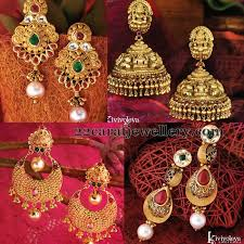 earrings in grt heavy look gold earrings by grt jewellery designs