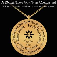 Engraved Necklaces For Her A Mom U0027s Love For Her Daughter Laser Engraved 18k Gold Necklace