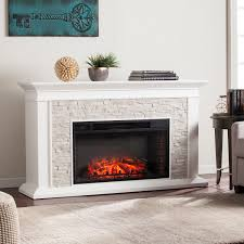canyon heights faux stacked stone electric fireplace white
