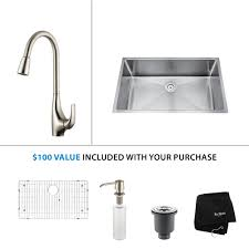 Undermount Kitchen Sink With Faucet Holes Stainless Steel Kitchen Sink Combination Kraususa Com
