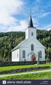 Blue House With Red Door Vinje Norway Beauiful White Church Called Vinje Church With Red