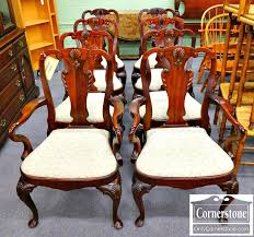 Queen Anne Dining Room Furniture by Maitland Smith Set Of 8 Solid Mahogany Queen Anne Dining Room