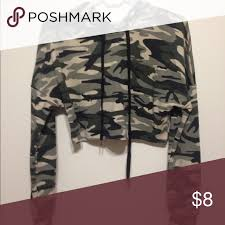 army pattern crop top a hooded crop top army green army and bb
