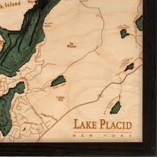 Lake Placid New York Map by Lake Placid Wood Map 3d Nautical Topographic Chart Framed Art