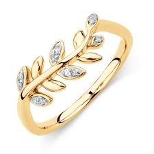 rings gold images Olive leaf ring with diamonds in 10kt yellow gold jpg