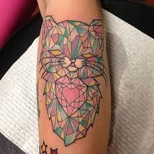 cutest cat crystal tattoo on leg tattoomagz