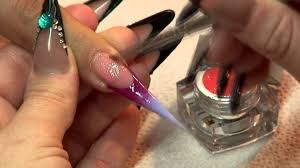 mystic nails classic line stiletto style decorated with color