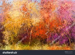 painting landscape colorful autumn trees stock illustration