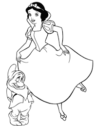 printable version of snow white snow white with bashful dwarf coloring page free printable