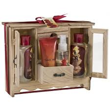 bath gift set vanilla spa bath gift set in wood curio freida joe