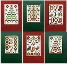 6 cross stitch ho ho ho cards kit green co