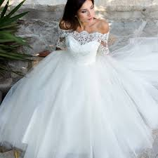 tulle wedding dress a line the shoulder half sleeves tulle wedding dress with lace