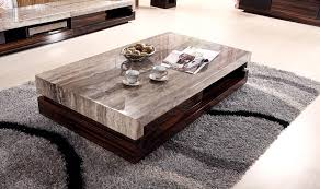 furniture modern wooden coffee table with wheels on brown