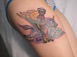 monkey riding a unicorn silly tattoo by jeb maykut at flyrite