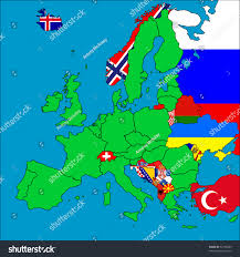 European Countries Map Map Europe All Noneu Member Countries Stock Illustration 52186669
